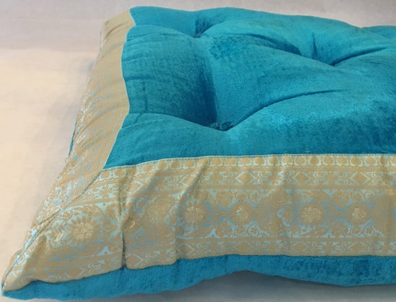 Turquoise velvet Tufted floor cushion meditation by TaraDesignLA