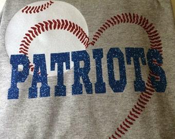 Baseball or Softball Seamed Heart Shirt