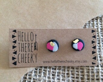 Polymer Clay Earrings with Gold Leaf