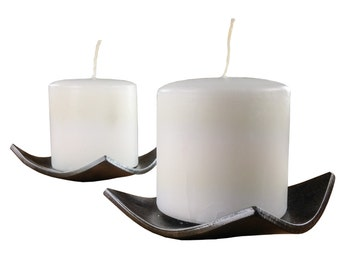 Square Candle Dish - Hand Forged - 2 pack