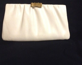 1960's Ivory White Vintage Womens Clutch