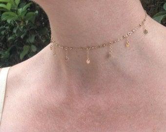 Delicate charm choker necklace, 14K gold filled jewelry, convertable custom sized 10-15'', minimalist festival jewelry, charm choker
