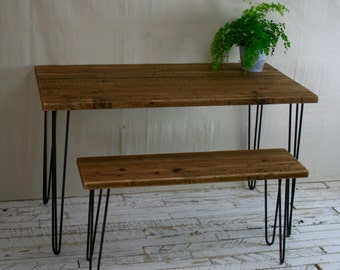 Rustic Desk Or Table Made From Reclaimed Scaffold Boards With Hairpin Legs