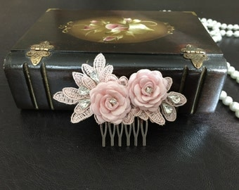 Bridal Hair Accessories, Wedding Head Piece,  Blush Pink Lace, Rhinesone, Comb