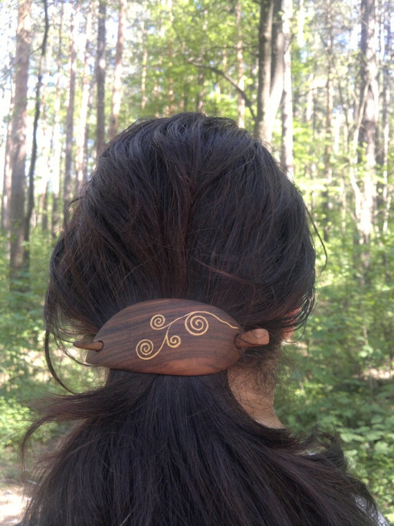 Beautiful wood carving barrette hair clip