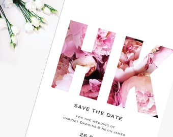 Beautiful Floral Wedding Save the Date, 'Harriet' Collection