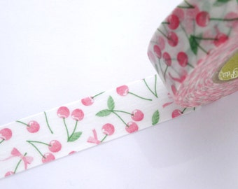 Cherry washi tape, Fruit washi tape, Pink spring decor, Scrapbooking tape, DIY wedding tape, Cherry pie, Gift wrapping idea Baby shower tape