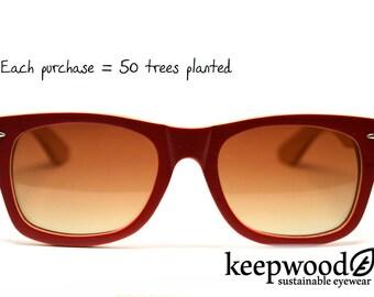 Red Wayfarer Bamboo Sunglasses Wood Sunglasses Wood Glasses Polarized Sunglasses Mens Sunglasses Womens Sunglasses Eco Sunglasses