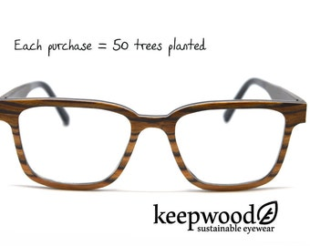Zebra Wood Eyeglass Frames Wood Glasses Reading Glasses Vintage Glasses Hipster Glasses Retro Wood Glasses Mens Eyeglasses Womens Eyeglasses