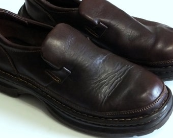 Born Men's Handcrafted Brown Leather Slip on Casual Comfort Loafers MEN SIZE 9.5 M wide