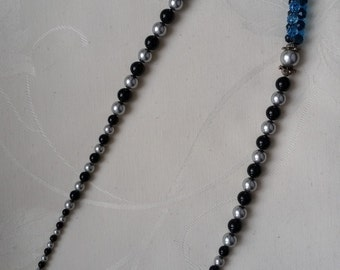 "necklace ""modular bead"" blue and gray"