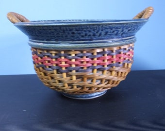 Signed, Mid-Century Art Ceramic and Rattan Two Handled Bowl Studio Pottery