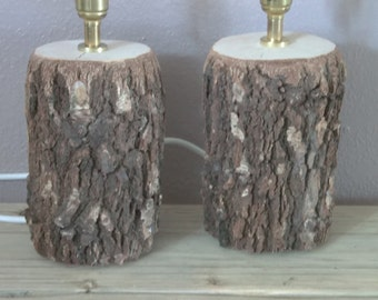 Pair of silver birch lamps, table lamps , bedside lamps, rustic table lamps