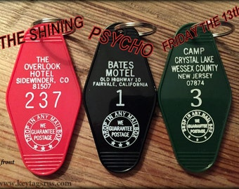 3 Horror Movie Combo -- Bates, Overlook, & Friday the 13th keytag COMBO Buy Today,