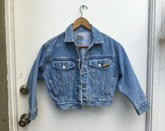 Vintage Cropped Denim Jacket - Jordache 90's Jean Jacket - Light Denim