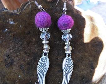 "Earrings ""Violet fishing"" felt, metal, and glass beads, Waldorf"