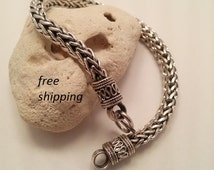 Men's silver bracelet; chunky; heavy; braided; 92.5; sterling