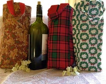 Holiday wine bag - festive wine tote that holds 750ML or 1.5L bottle - plaid, gingerbread, or wreath option - holiday gift or christmas gift