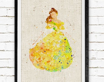 Disney Princess Belle Prints, Beauty and the Beast, Watercolor Painting, Nursery Decor, Kids Decor, Baby Room Wall Art, Girls Gifts, 336