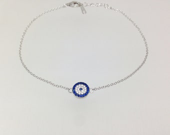 925 Sterling Silver Evil Eye Bracelet White Blue Cubic Zirconia Crystals Silverbar55