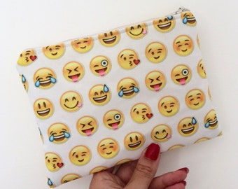 Emoticons zipper pouch, made to order