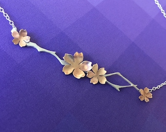 Japanese Cherry Blossom Necklace, Sakura Necklace
