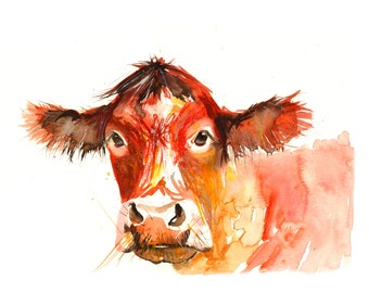 Contemporary Watercolour ART PRINT Original LIMITED Edition Signed Red Cow On Watercolour 300 gsm Paper Free Shipping To United Kingdom