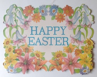 Vintage Easter Decoration. Flocked Die Cut Cardboard. Vintage Party Supplies. Happy Easter Lettering. Lilies. Spring Flowers.