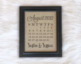 4th Anniversary Calendar Gift, Fabric Print, Cotton, Linen, Burlap, Traditional Anniversary Gift, Wedding Date, 2nd Anniversary, Home
