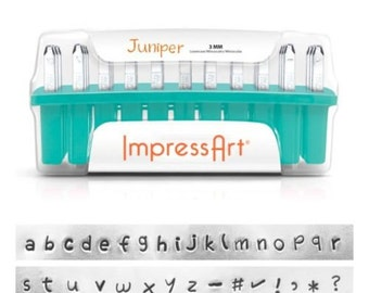 Metal Stamping Kit JUNIPER Lowercase Alphabet Letter Stamps Impressart 3mm Impression with Bonus Stamps