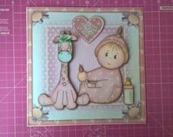 New Baby Girl decoupaged card