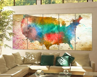 Large wall art Usa map wall art print on canvas Large wall art Usa map Art Print artwork large usa map home office decoration 5 panel