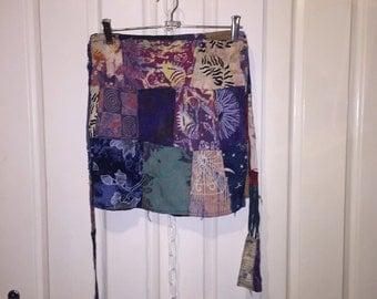 Batik Patchwork Wrap Skirt