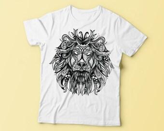 Lion design t-shirt / top / clothing / zenart styled hand drawn animal shirt