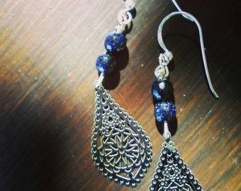 """Εarrings 925 Silver handmade with jewels  """"Goldsandstones""""Ethic style."""