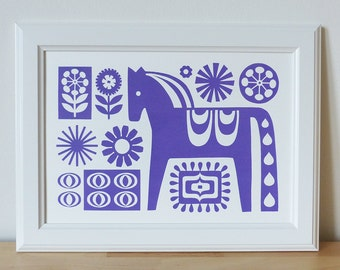 Scandinavian Dala Horse Screen Print Wall Art Retro 70s Swedish Hand Pulled Purple