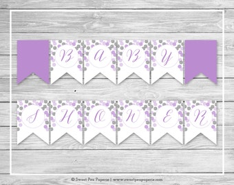 Purple and Silver Baby Shower Banner - Printable Baby Shower Banner - Purple and Silver Baby Shower - Baby Shower Banner - EDITABLE - SP126