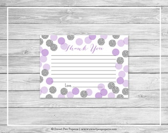 Purple and Silver Baby Shower Thank You Cards - Printable Baby Shower Thank You Cards - Purple and Silver Baby Shower - Thank You - SP126