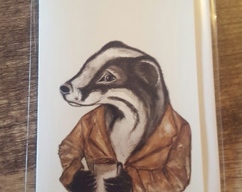 Badger and Coffee Greeting Card
