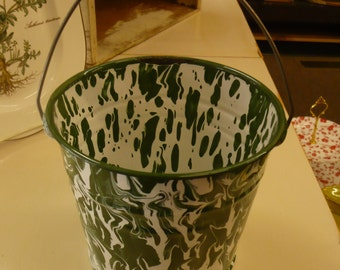 Green and White Marbled Tin and Porcelain Bucket