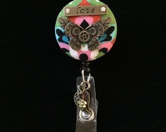 Steampunk Mariposa-Nurse Retractable ID Badge Reel/ RN Badge Holder/Doctor Badge Reel/Nurse Badge Holder/Name Badge/Nurse Gift