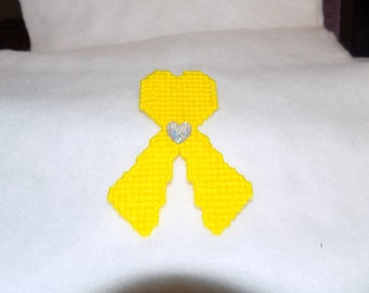 Support the troops yellow heart ribbon magnet
