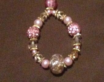 Pale Pink and gold sparkle beaded pendant and chain