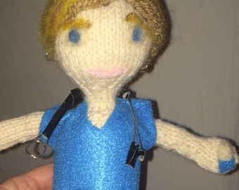 Nurse Jackie handknit doll