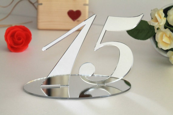 "Silver mirrored table numbers Silver wedding table numbers Winter Wedding sign Silver numbers stand Acrylic wedding table numbers, 5.0"" tall"