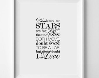 Shakespeare Quote, Doubt Quote, Stars Quote, Shakespeare Poster, Love Quote Print, Typography Art, Literary Poster, Instant Download