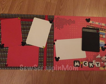 12x12 Premade Mickey 2 Page Scrapbook Layout