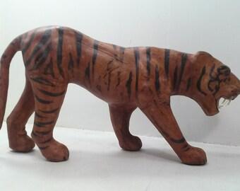 Bengal Tiger Figure/Sculpture - Leather/Paper Mache/Glass Eyes Vintage