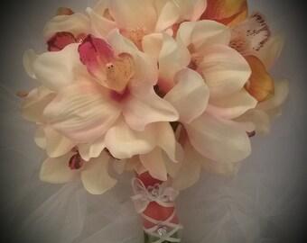 Orchids  for Autumn, peach orchids, orange orchids, orchid wedding bouquet, orchid bridal bouquet, destination bouquet tropical bouquet,fall