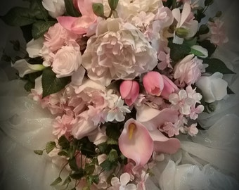 Pink Delight ,pink white cascading wedding bouquet,bridal cascade bouquet,large peonies,roses,tulips,calla lillies,orchids,cherry blossoms